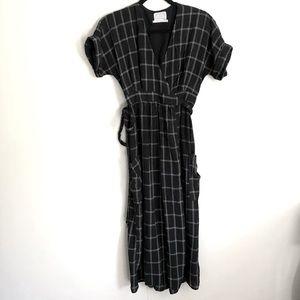 Urban Outfitters Black Window Pane Wrap Dress